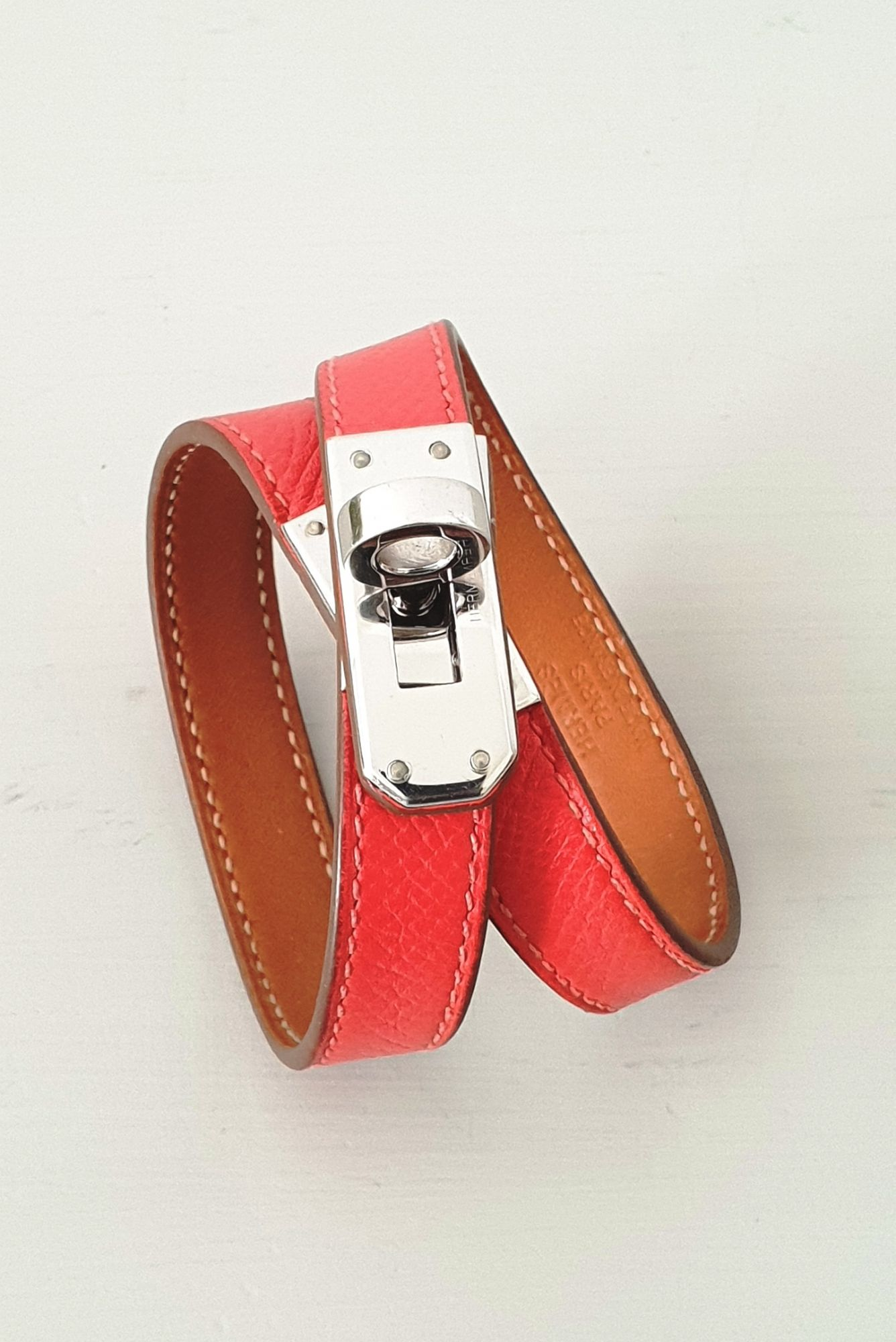 Bracelet Hermès Kelly double tour rouge corail